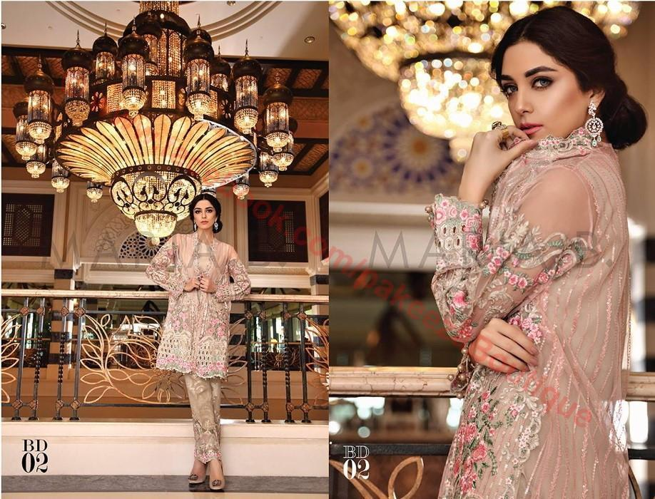 Maria B Embroidered Eid 2016 suit BD-802 - Net jacket with Jacquard trouser