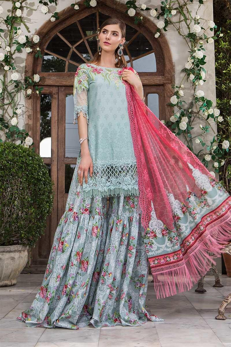 Maria B Eid Lawn Collection 2019 suit D-601-Sea Green