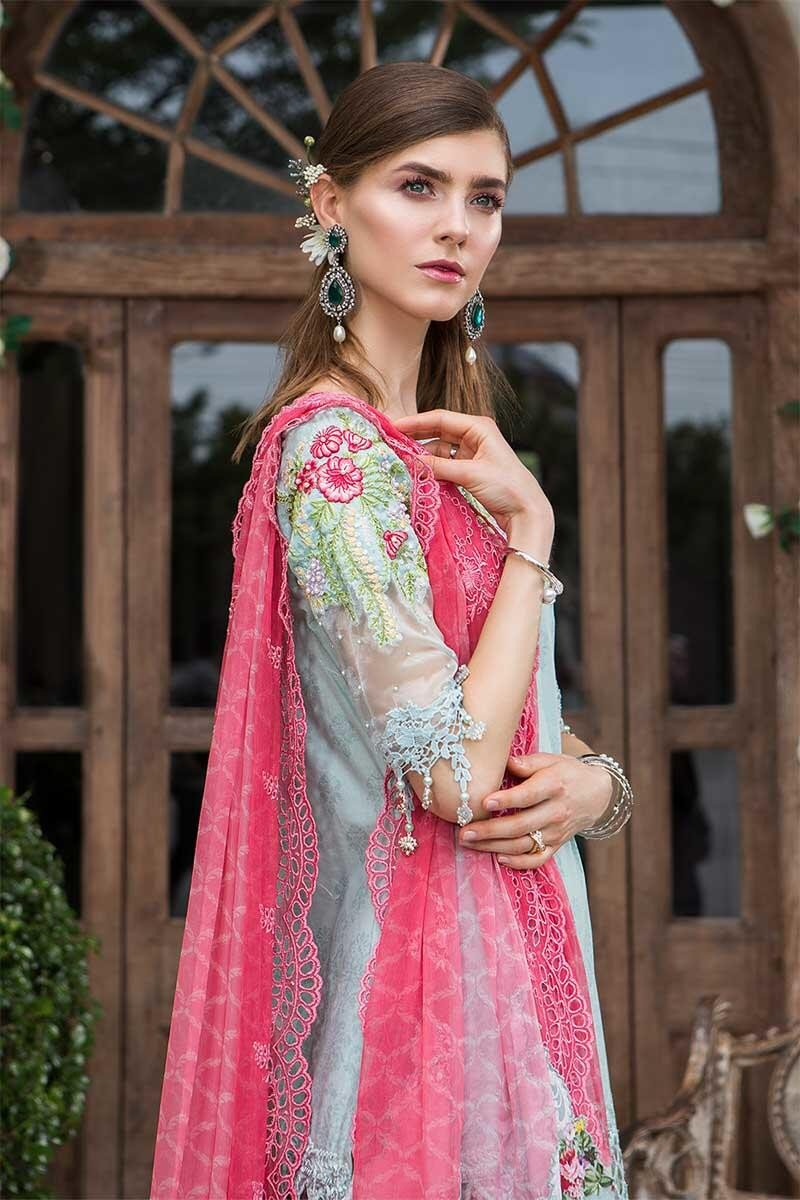 Maria B Lawn 2019 suit D-601- Embroidered Sage Green Lawn kameez, printed bottom and schiffli chiffon dupatta