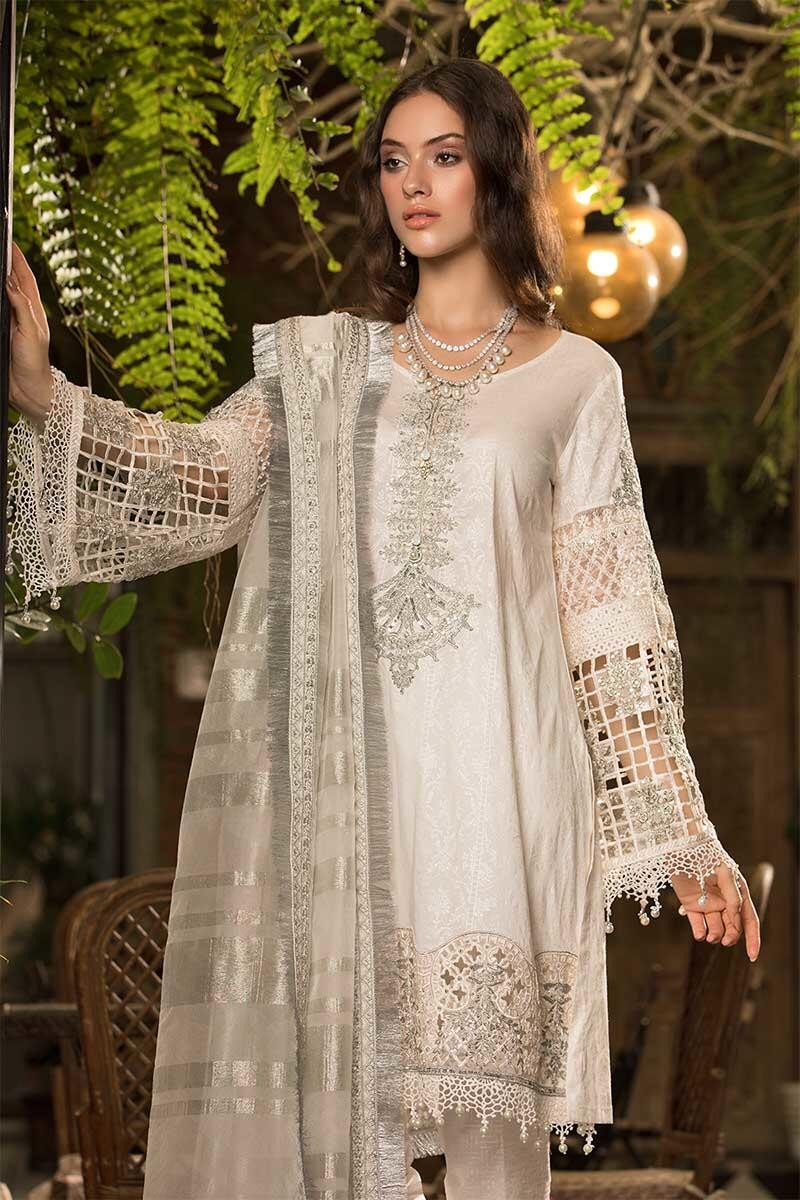 0f5ebd61e9 Maria B Lawn Eid 2019 suit D-607 - Embroidered White Kameez with organza  dupatta