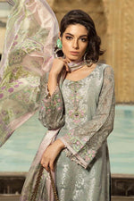 Maria B Voyage Spring/Summer Lawn D-1902B - Embroidered Grey Shalwar with Printed Silk Dupatta