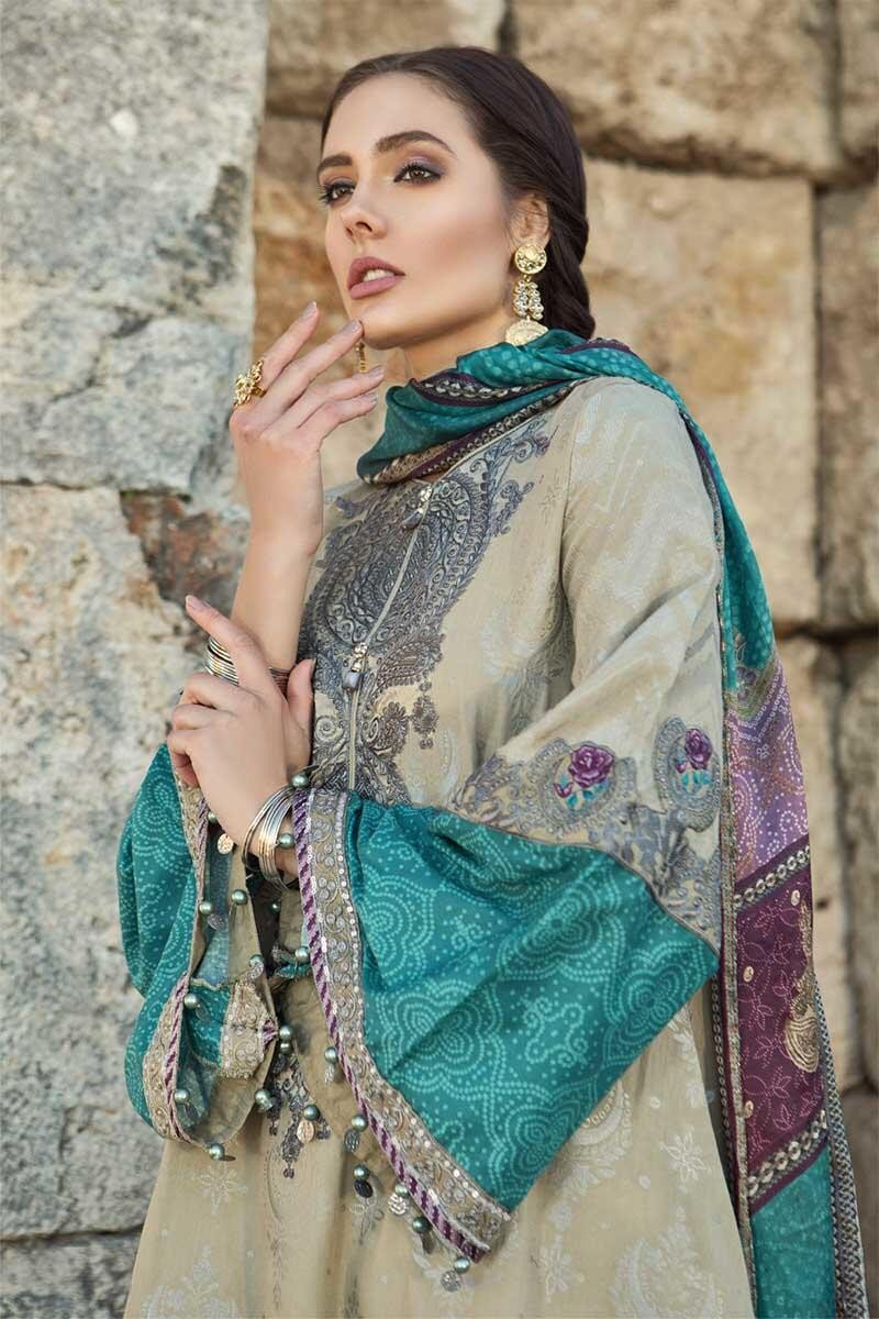 Maria B Voyage Spring/Summer Lawn D-1903 - Embroidered Beige Colour Jacquard with Silk Dupatta