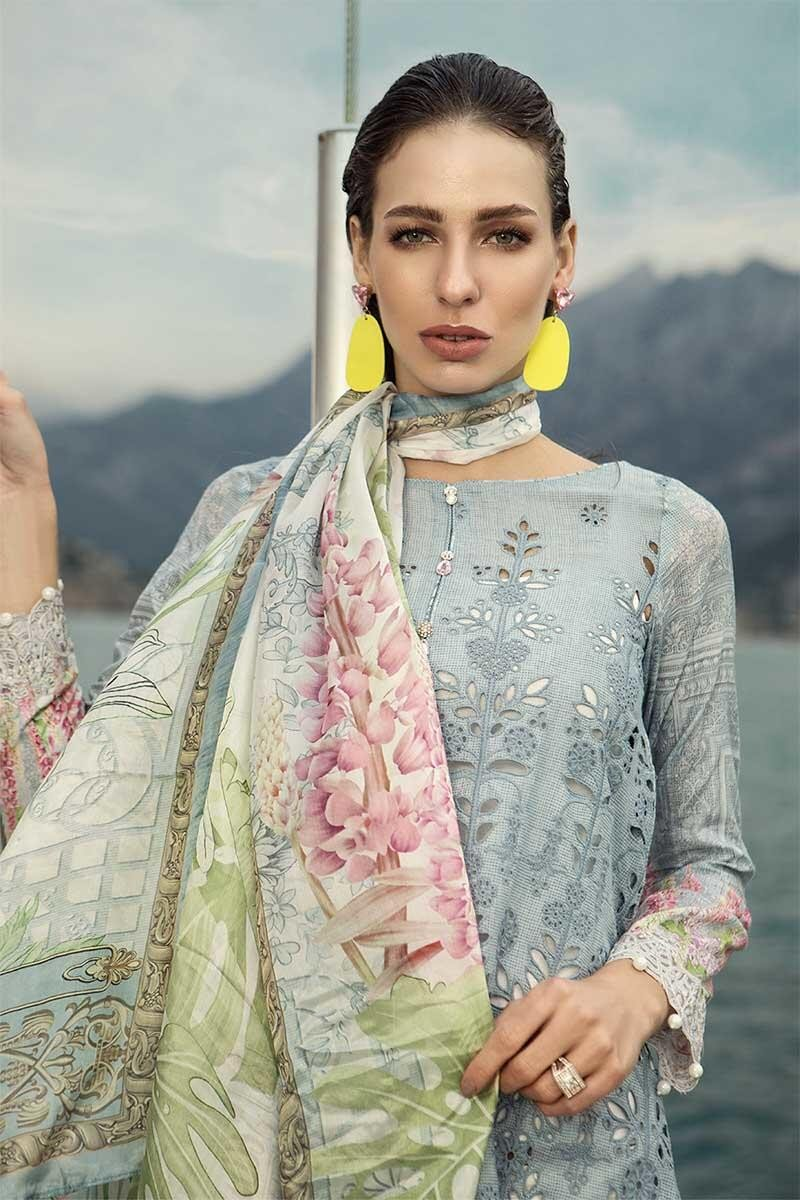 Maria B Voyage Spring/Summer Lawn D-1906B - Embroidered Grey Kameez with silk dupatta