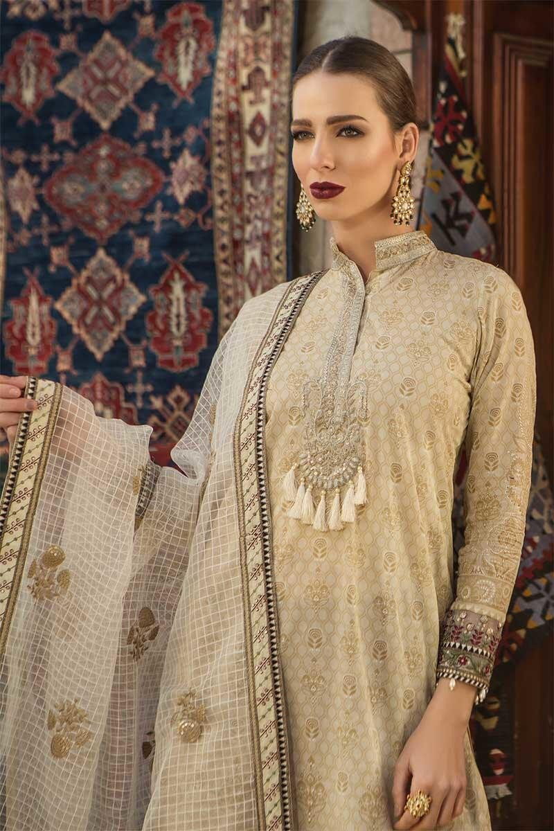 Maria B Voyage Spring/Summer Lawn D-1907A - Embroidered Gold Kameez with embroidered organza dupatta