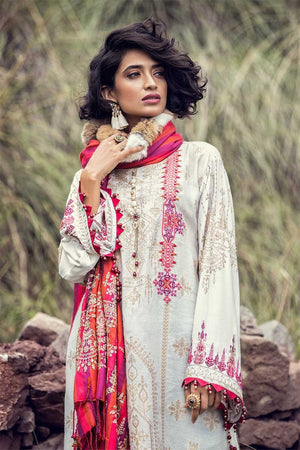 Maria B Linen Fall/Winter 2019 DL-704 - Embroidered Linen Salwar Kameez, Organza sleeves and woven shawl