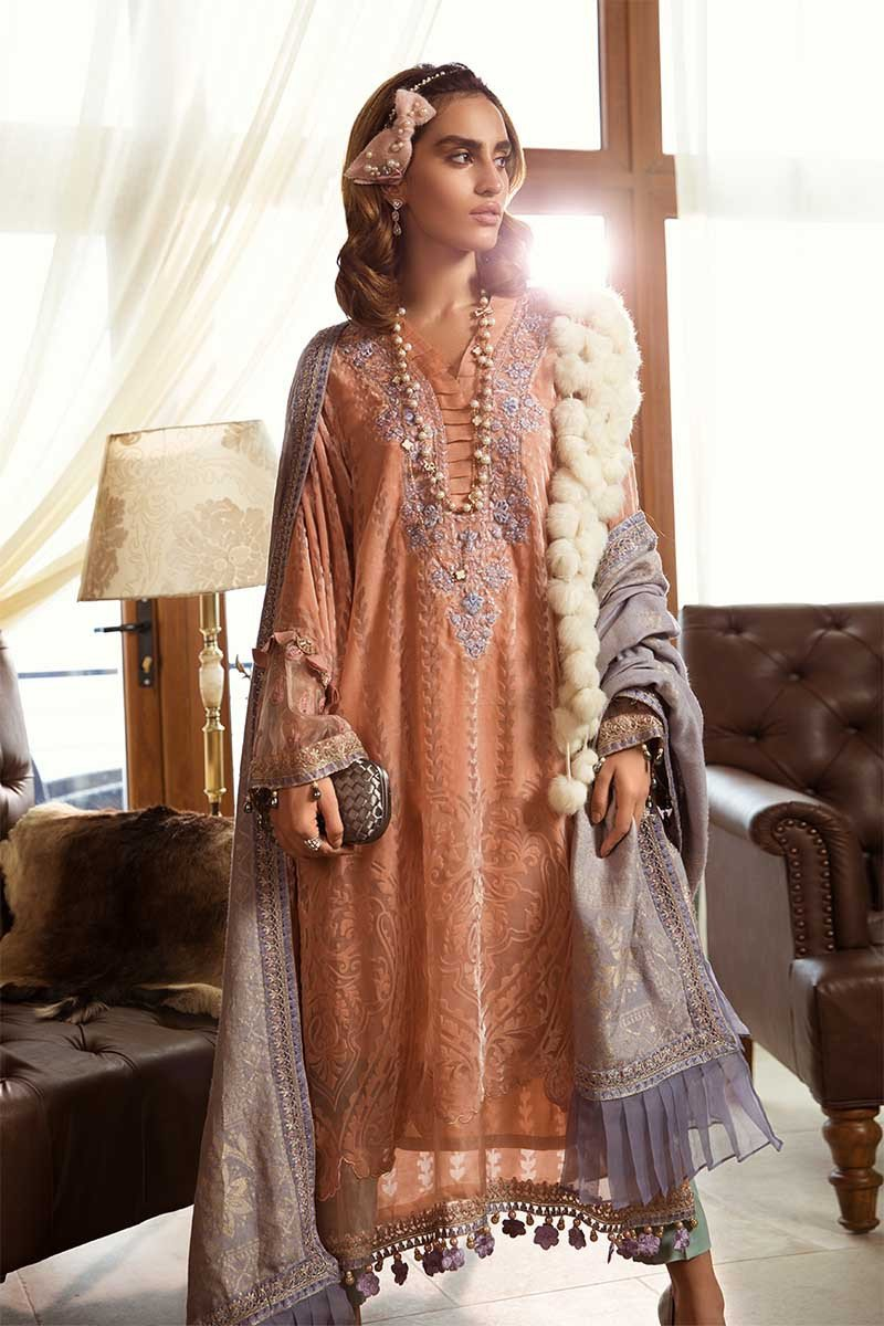 Maria B Linen Winter 2019 DL-705 - Embroidered Peach Plush Shirt with Velvet Shawl