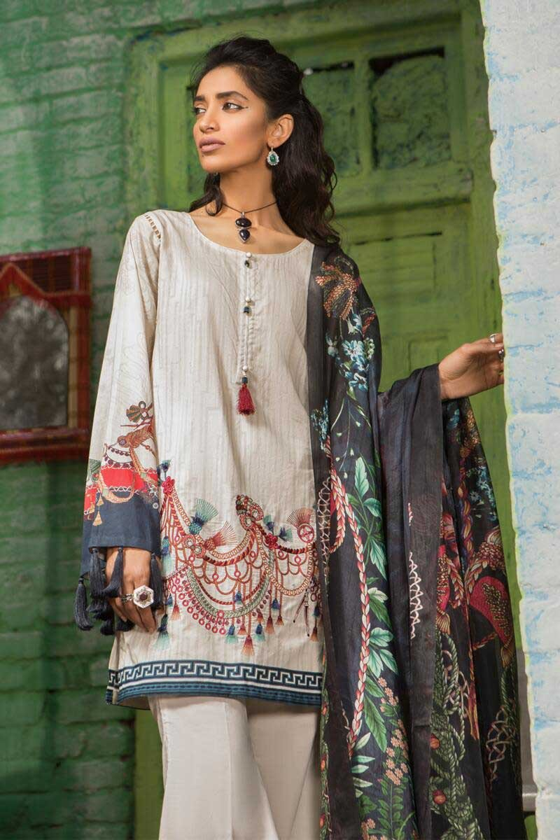 Maria B M.Prints 2019 suit MPT-507-A - Embroidered/Printed kameez, dyed bottom and silk dupatta