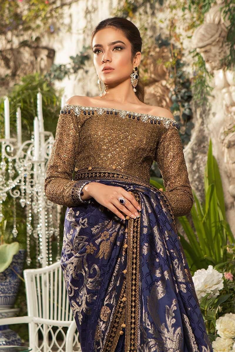 Maria B Mbroidered 2019 suit BD-1601 - Navy Blue Saree with Jacquard print and stunning embroideries