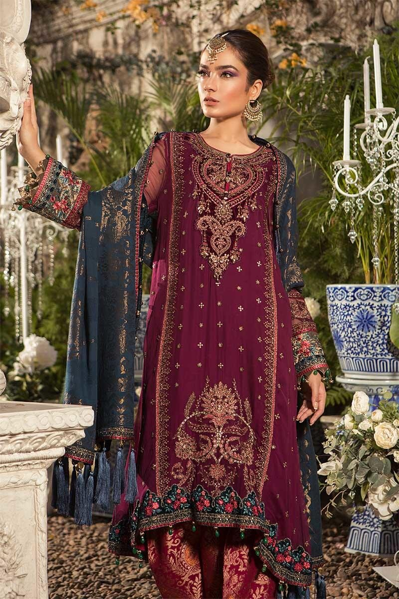 Maria B MBROIDERED 2019 - Deep Magenta and Teal (BD-1605)