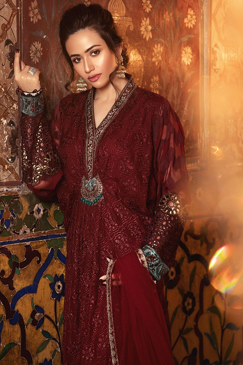 Maria B Mbroidered 2018 BD-1307 - Maroon Colour Party Wear with Embroidered dupatta