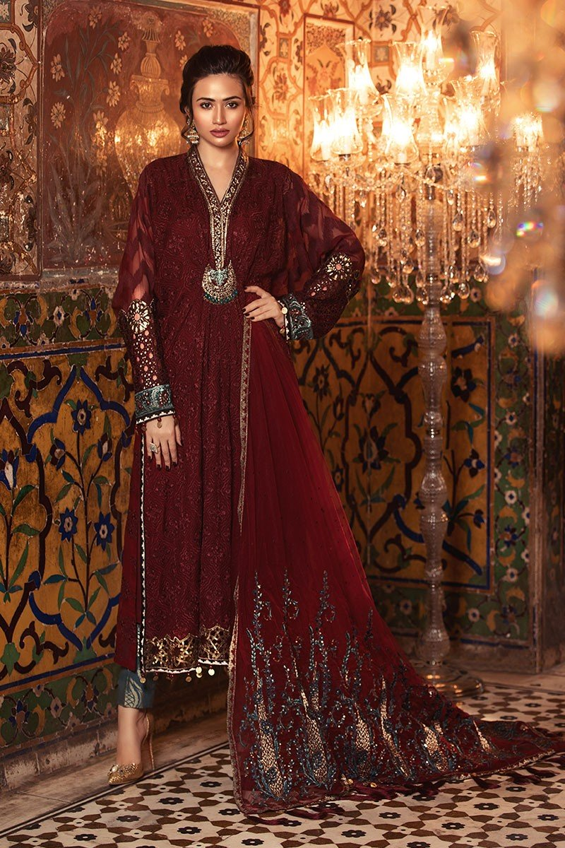 Maria B Mbroidered Royal Maroon BD-1307
