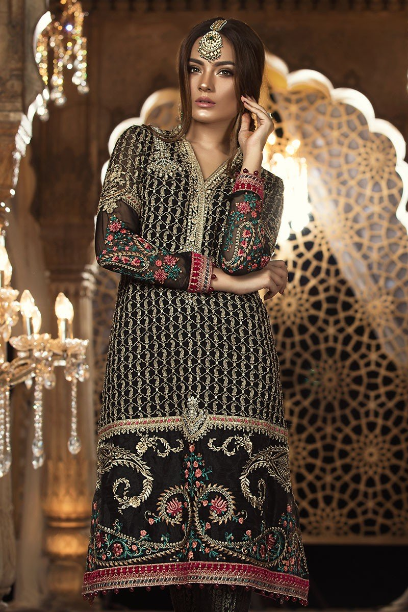 Maria B Mbroidered Chiffon Vol-2 2018 Black BD-1401 - Black embellished Kameez with embroidered Net dupatta