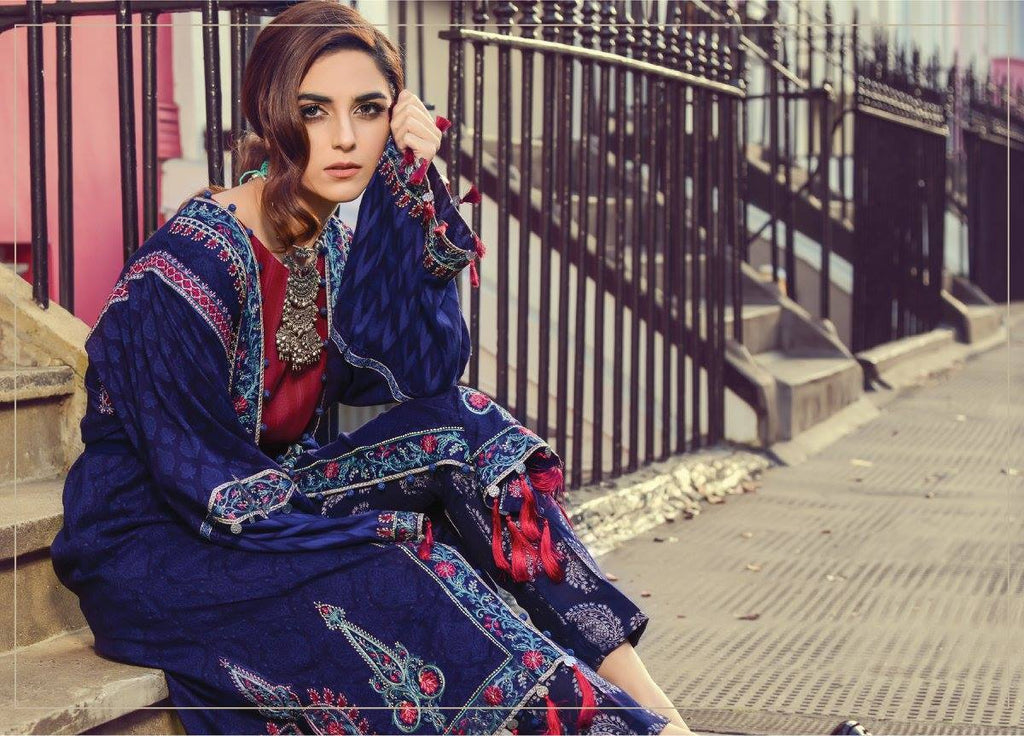 Maria B Embroidered Linen 2017 suit MB11