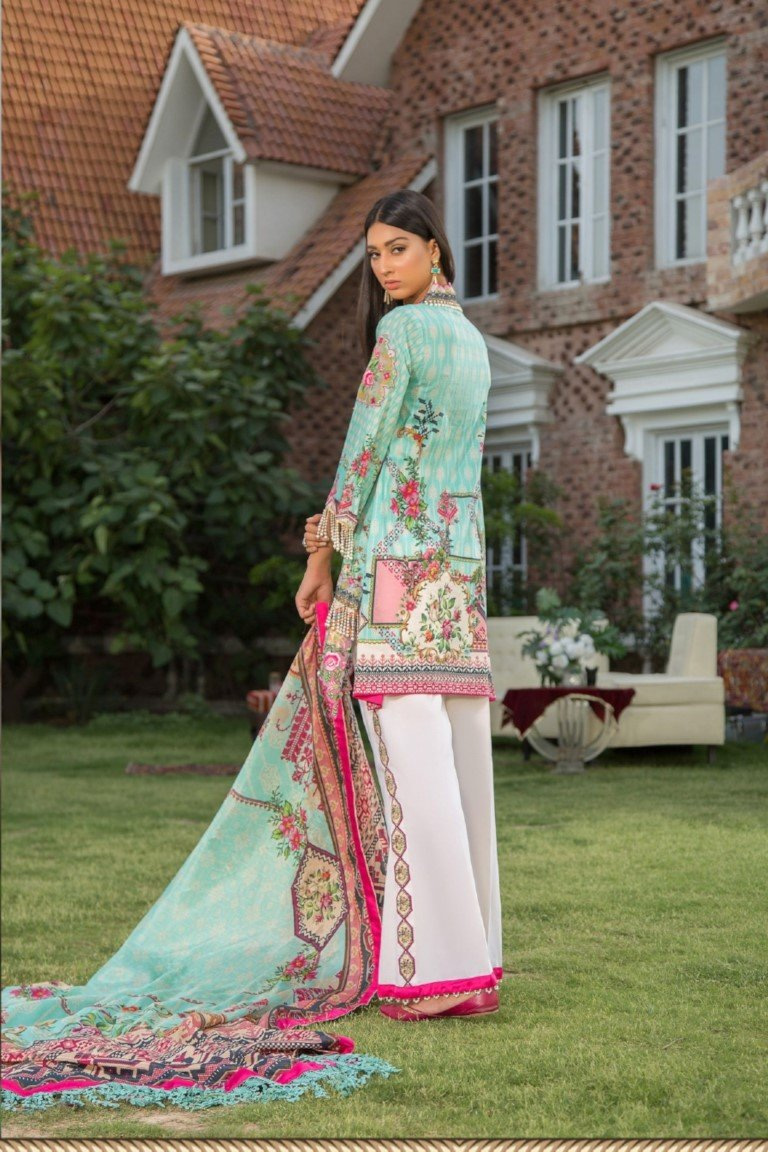 Maryam Rajput Festive Collection suit 101 - Embroidered/Printed ferozi lawn kameez, printed trouser and imported chiffon dupatta