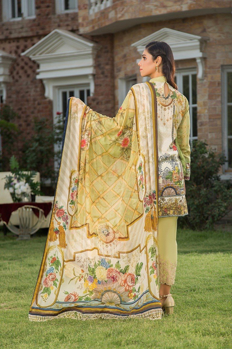 Maryam Rajput Festive suit VENUS - Embroidered Schiffili lime shirt, cambric trouser and imported chiffon dupatta