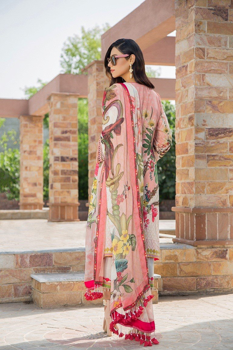 Maryam Rajput Festive 2019 designer 104 - Embroidered Pink lawn kameez, cambric trouser and pure chiffon printed dupatta