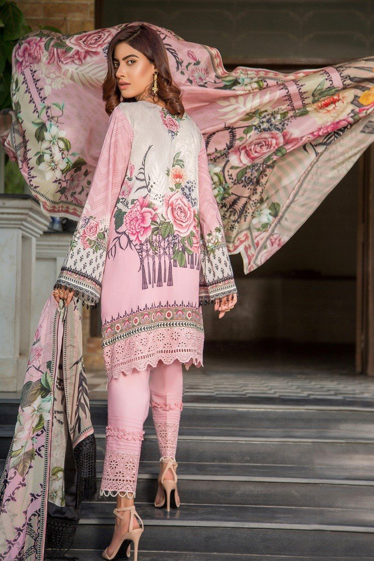 Maryam Rajput Schiffili Lawn 2019 suit Petal Talk  - Pink Embroidered lawn with chiffon dupatta