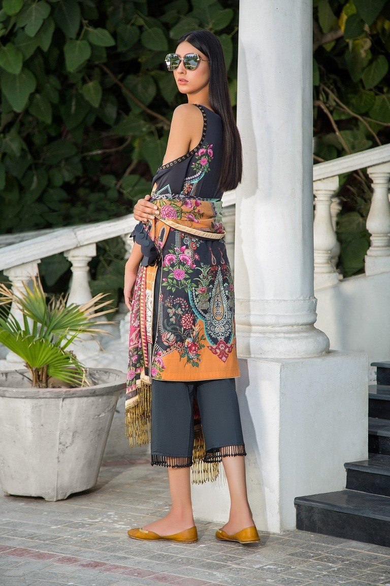 Maryam Rajput Festive 2019 suit Genesis - Embroidered Lawn black kameez, cambric trouser and imported chiffon dupatta