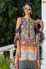 Maryam Rajput Festive suit Genesis - Embroidered black shirt, dyed bottom and printed chiffon dupatta