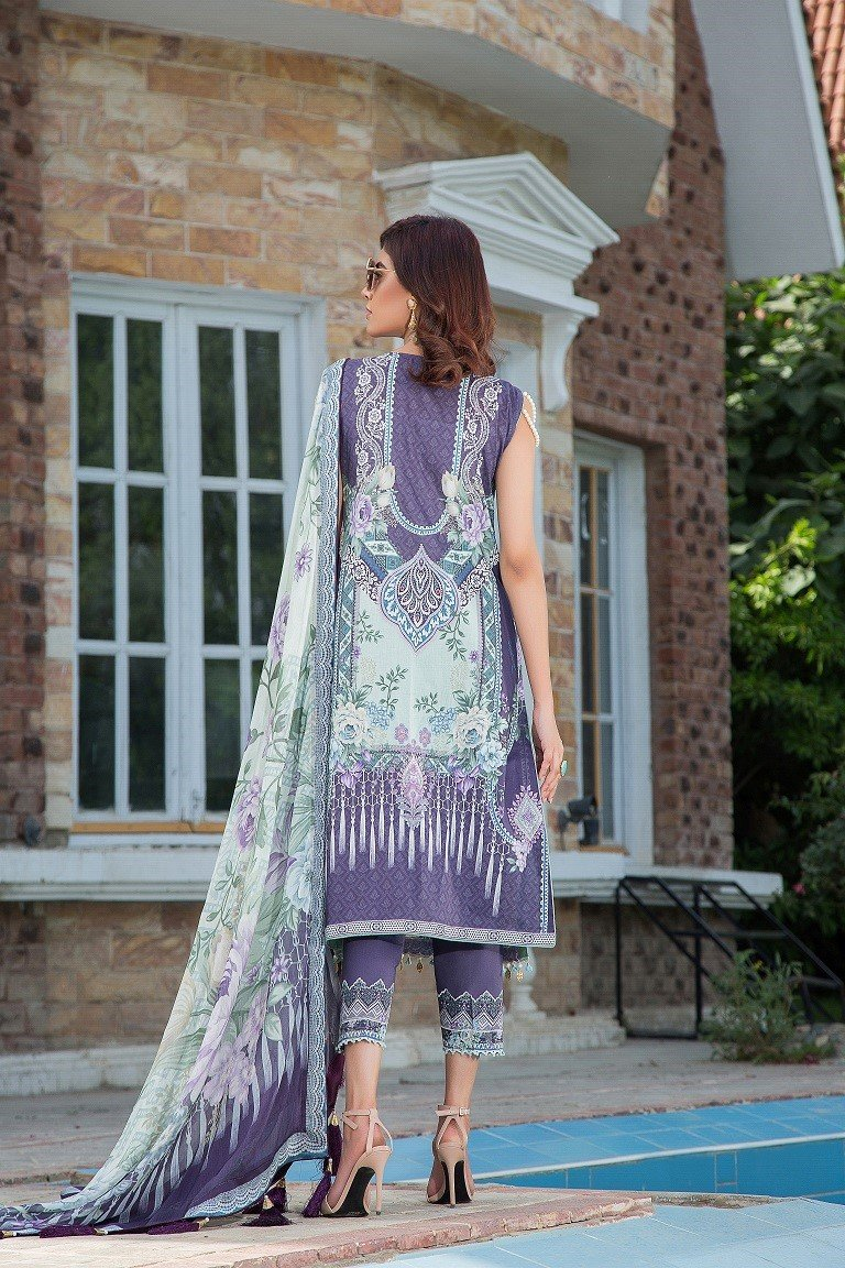 Maryam Rajput Festive suit ENCHANTRESS - Embroidered Lilac Lawn shirt, printed bottom and chiffon dupatta