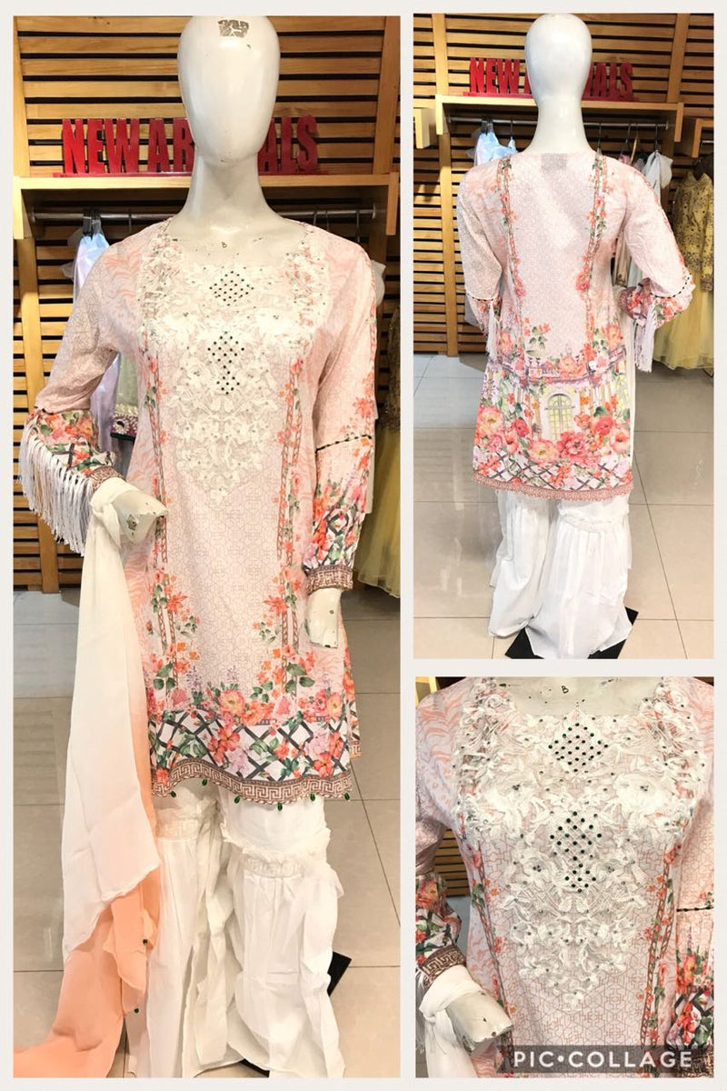 Miilady Cotton Stitched suit MC-5899 - Embroidered Salwar kameez with printed chiffon dupatta