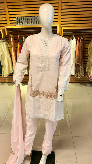 Miilady Embroidered Cotton Stitched suit MC-8187 - White Embroidered Kameez with dyed chiffon dupatta