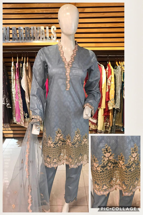 Miilady Cambric Stitched suit MC-8149 - grey salwar kameez with embroidered net dupatta