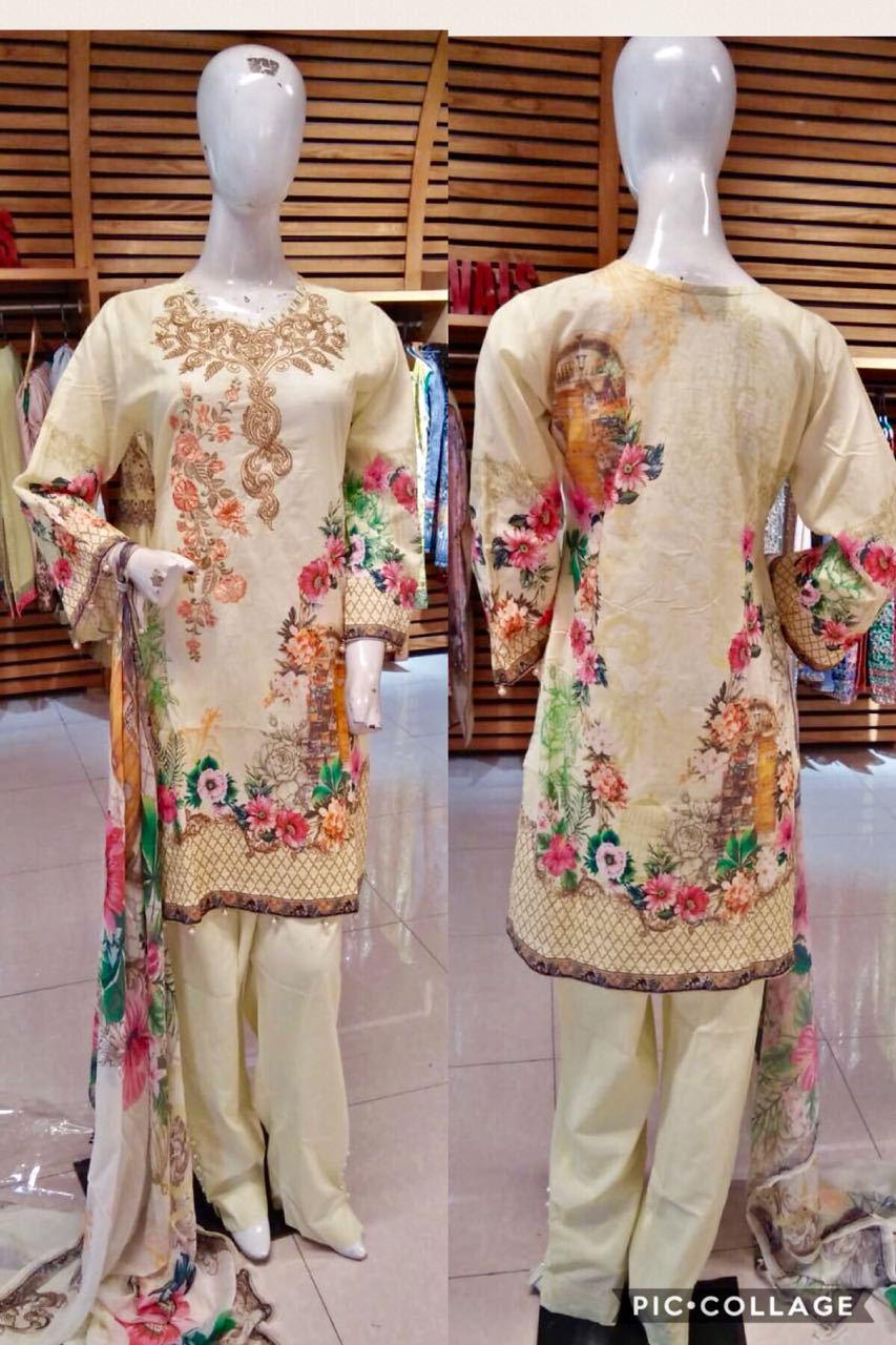 Miilady Casual Salwar Kameez Stitched suit 5909 - Cream Colour suit with printed chiffon dupatta