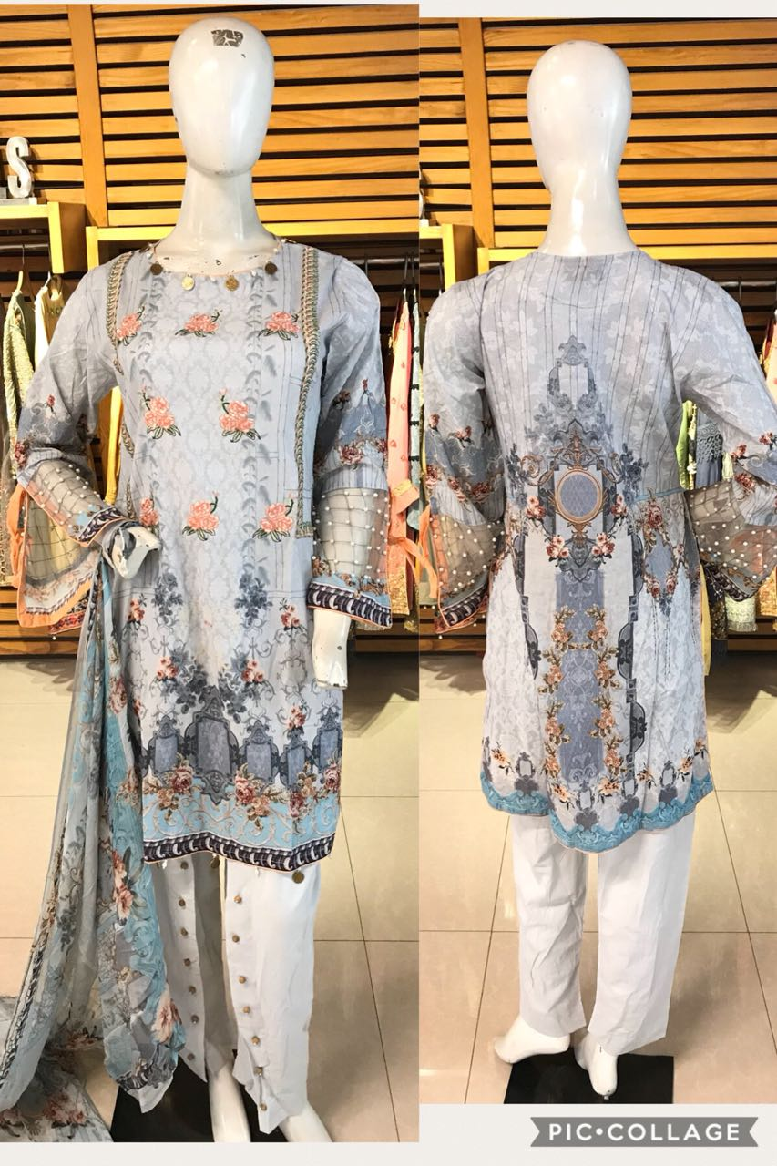 Miilady Lawn Stitched suit MC-5903 - Embroidered kameez front with printed back and chiffon dupatta