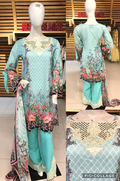 Miilady Lawn Stitched suit MC-5897 - Ferozi colour embroidered kameez with printed chiffon dupatta