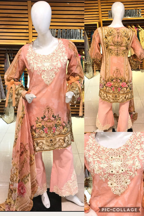 Miilady Embroidered Lawn Stitched suit MC-5921 - Pink Embroidered Lawn Kameez with Printed Chiffon Dupatta