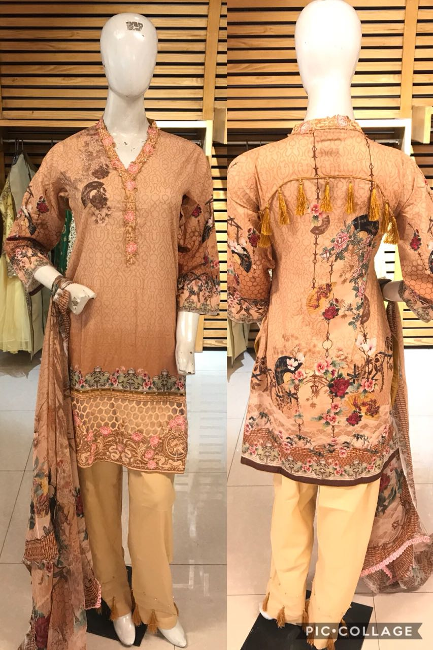 Miilady Cotton/Lawn Stitched suit MC-5887 - Bronze Salwar kameez with printed chiffon dupatta
