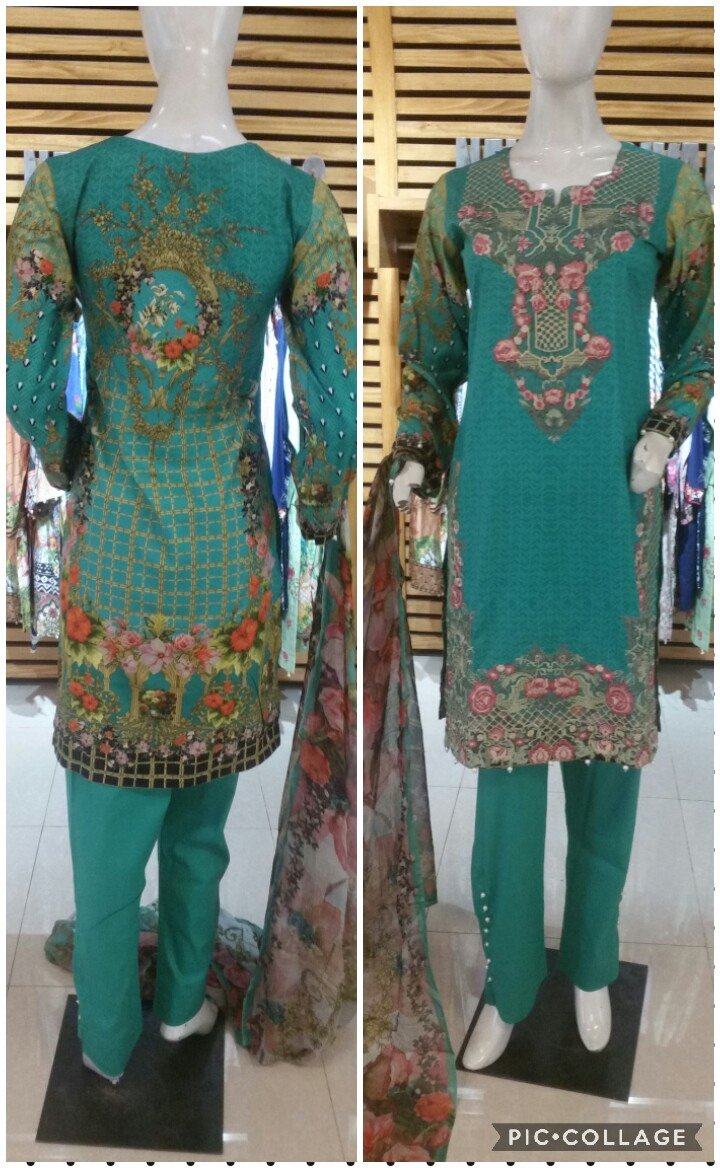 Miilady Lawn Stitched suit MC-CX524 - Turquoise Salwar kamez with printed chiffon dupatta