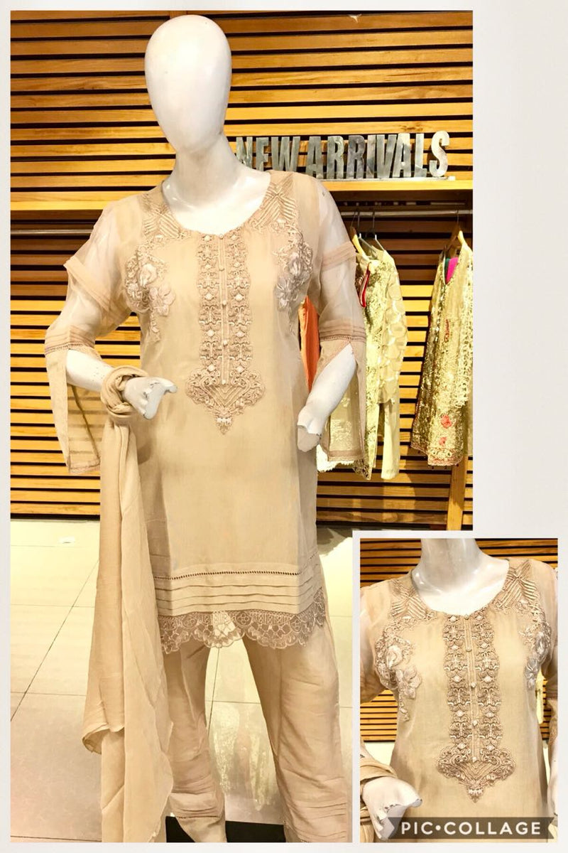 Miilady Embroidered Cotton Stitched suit MC-8188