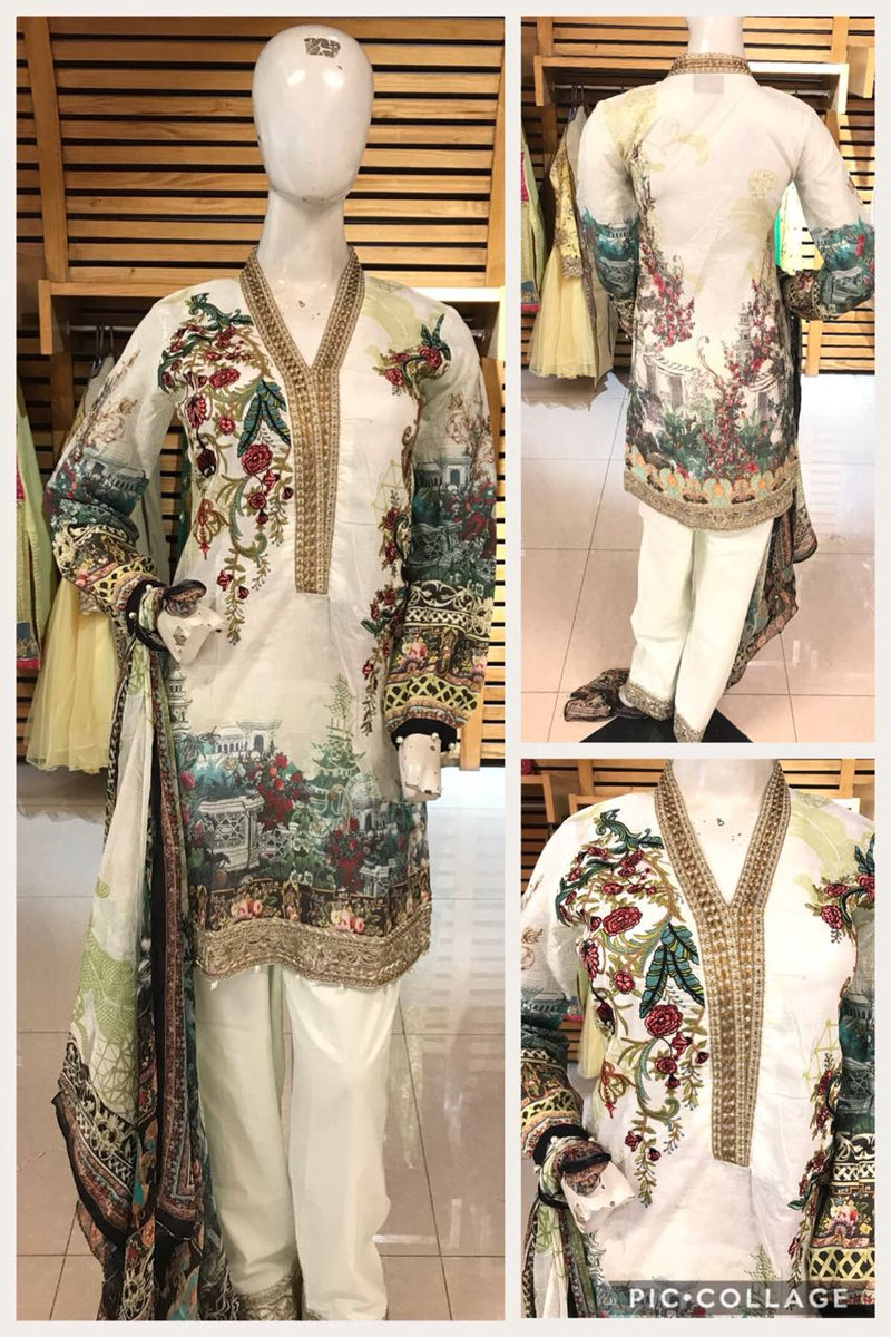 Miilady Embroidered Lawn Stitched suit MC-5904 - Off White Digital Kameez with Printed Chiffon Dupatta