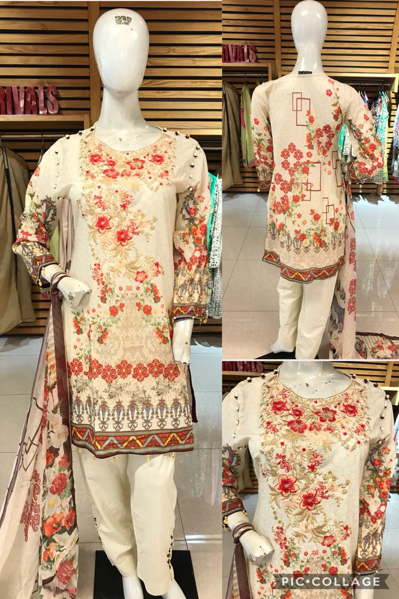 Miilady Cotton/Lawn Stitched suit MC-5905 - Embroidered Cream Salwar kameez with printed chiffon dupatta