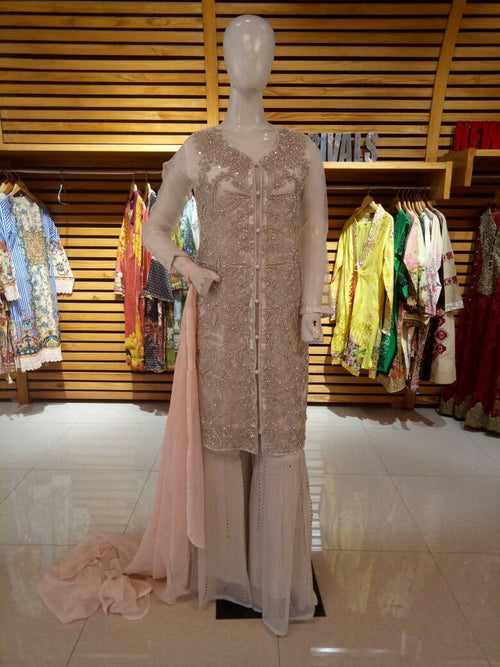 Miilady Fancy Stitched suit MF-2161 - Embroidered Chiffon Jacket style kameez front with chiffon dupatta and Net sharara
