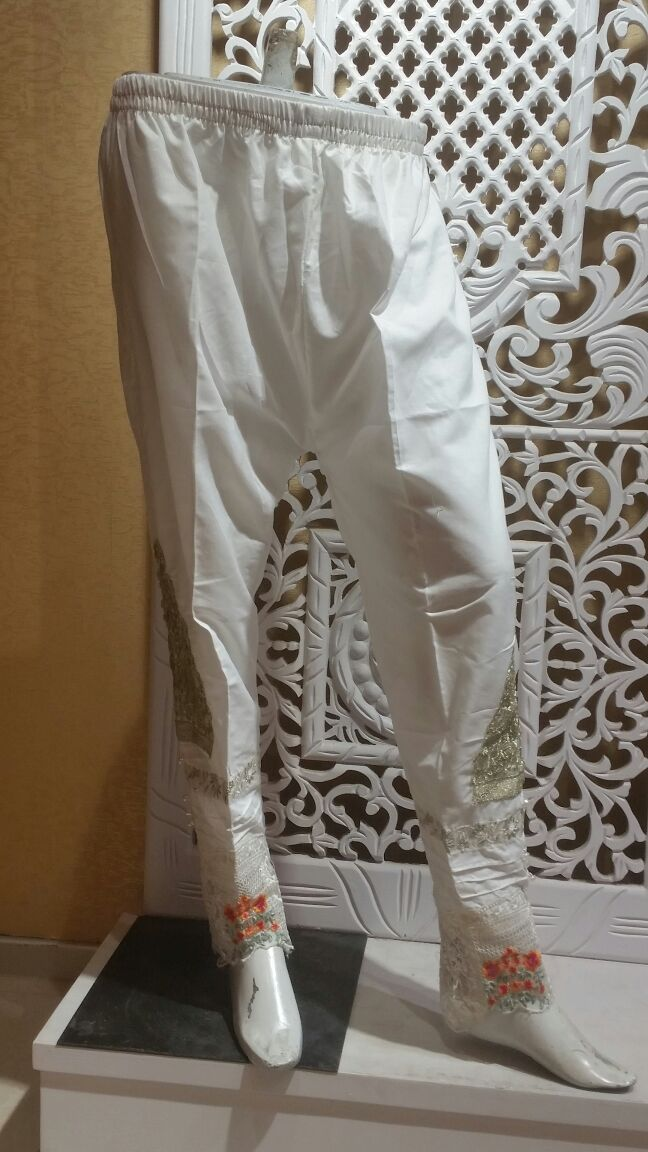 Miilady Cotton Stitched Salwar MS-007 - White embroidered trouser