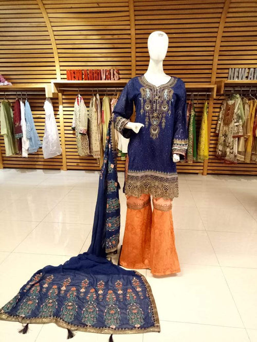 Miilady Fancy Stitched Salwar Kameez Party Weart MF-2606 - Embellished Blue/Orange Party Wear with Georgette/Jacquard Bottom and Embroidered Net Dupatta
