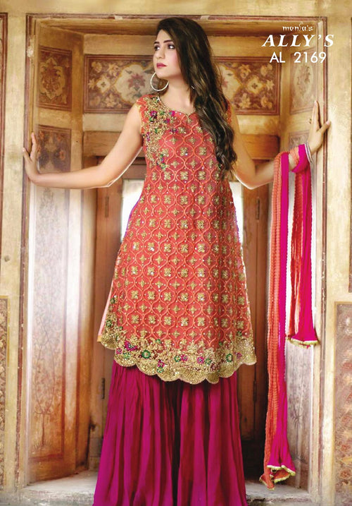 Miilady Fancy Stitched suit MF-2169 - Ada work on kameez front with gharara style bottom