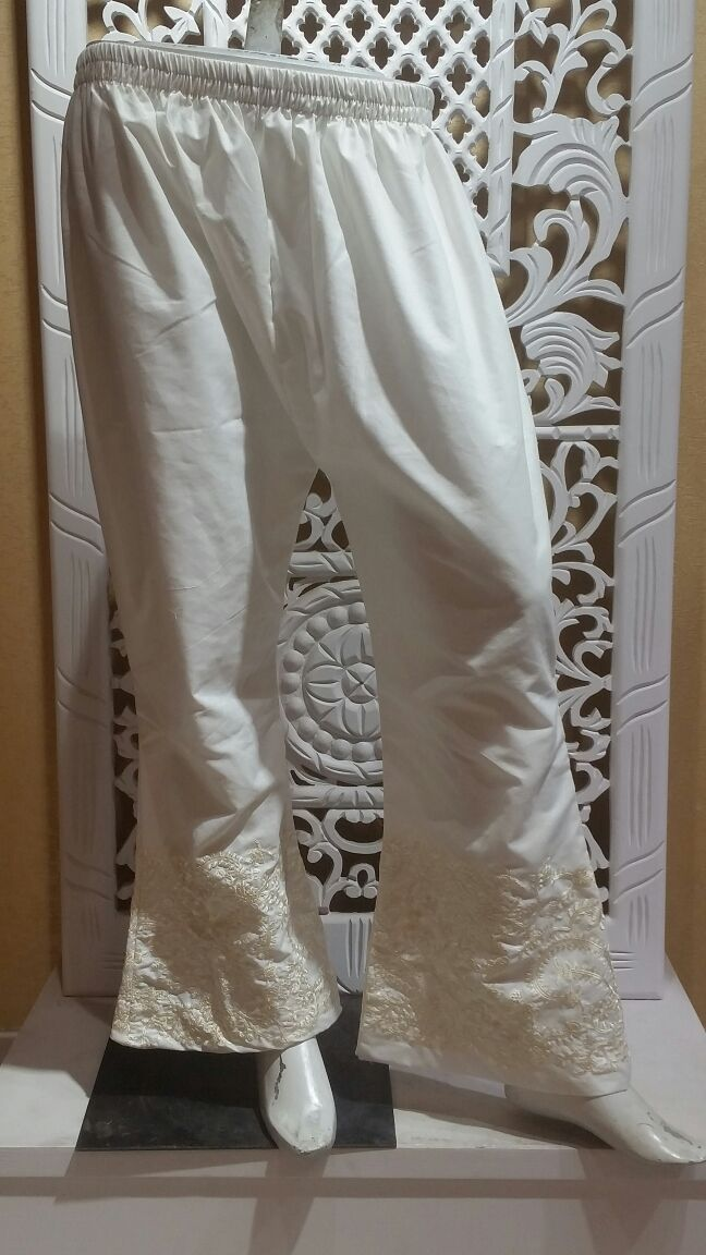 Miilady Cotton Stitched Salwar MS-013 - White embroidered salwar