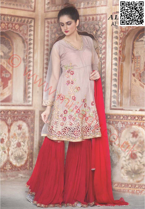 Miilady Fancy Stitched suit MF-2230 - Embroidered/Cut Work kameez with chiffon dupatta