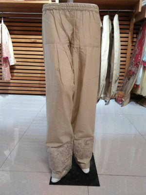 Miilady Cotton Stitched Salwar MS-015 - Embroidered Beige Trouser