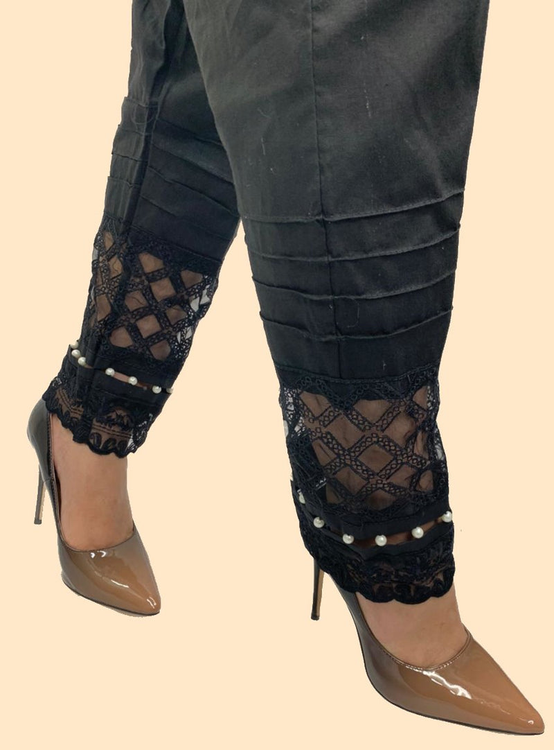 Miilady Stitched Black Cotton Trouser MT-7861