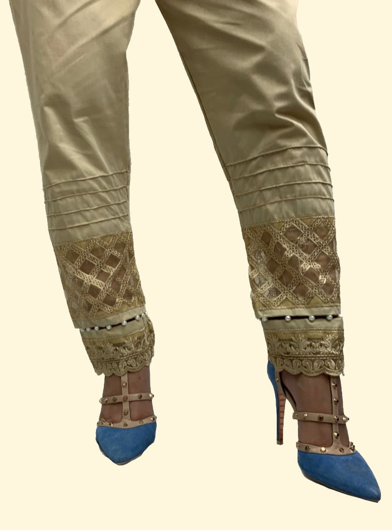 Miilady Beige Cotton Trouser MT-7862 - Embroidered bottom