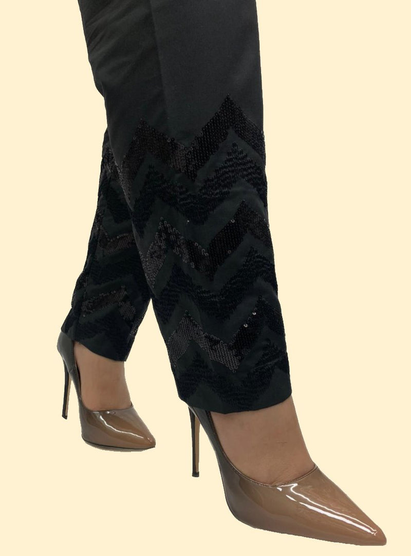 Miilady Stitched Black Cotton Trouser MT-7864