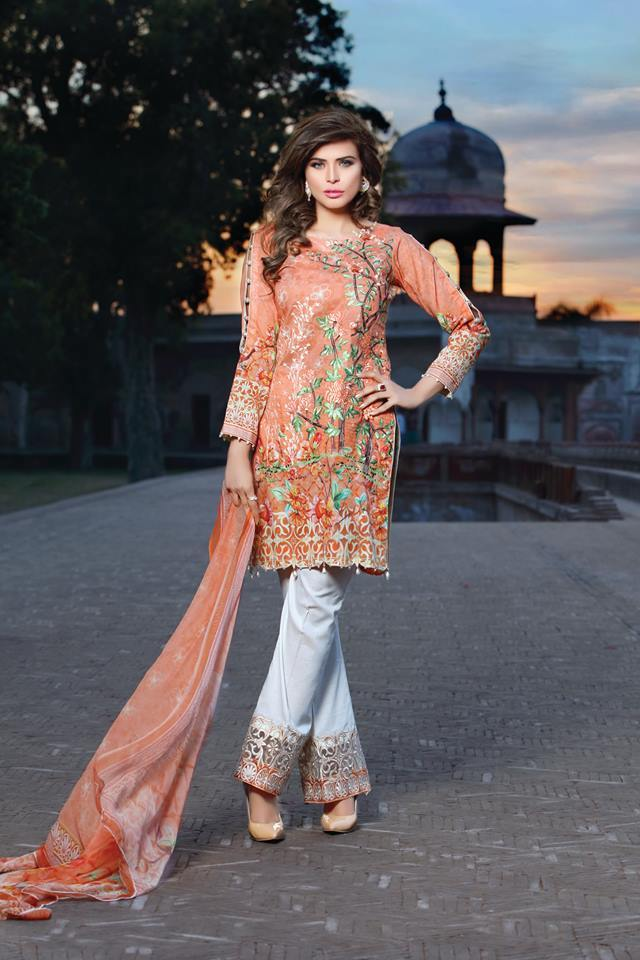 Miilady Cotton Stitched suit MC-0594 - Peach salwar kameez