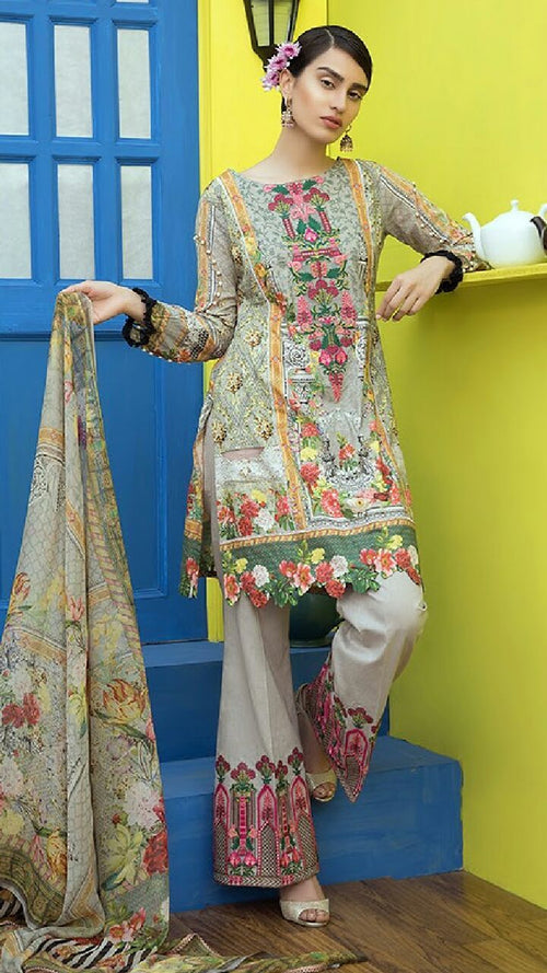 Miilady Lawn Stitched suit MC-5807 - Embroidered Kameez, shalwar and printed chiffon dupatta
