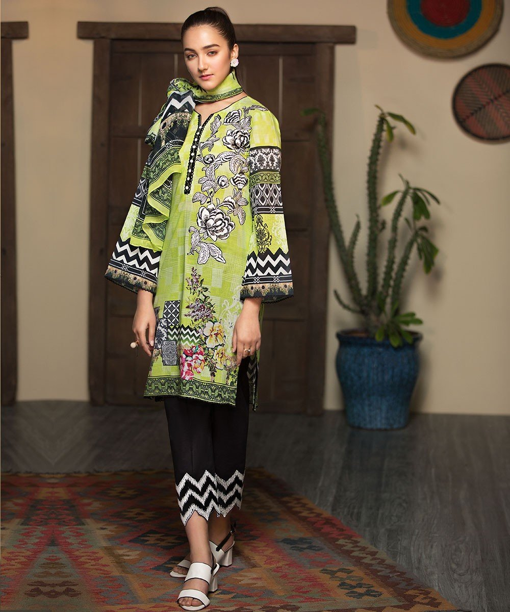 Mohagni Arena Lawn Summer 2019 suit AR-03 - Embroidered lime lawn kameez, black trouser and printed chiffon dupatta