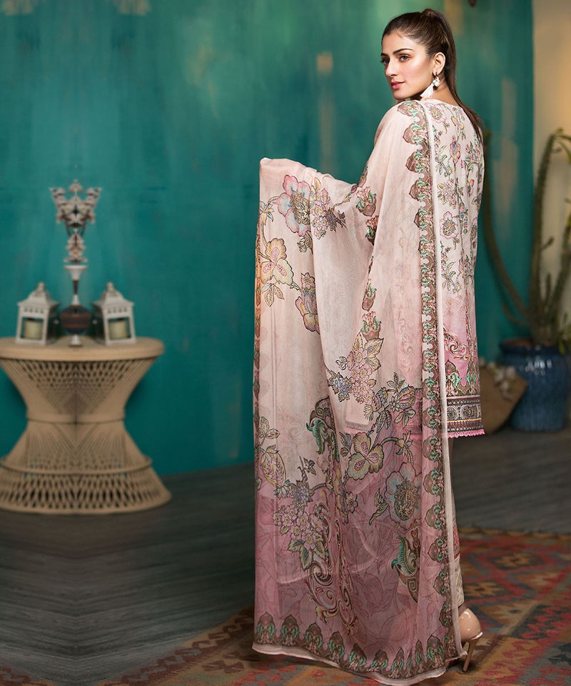Mohagni Arena Lawn 2019 suit AR-05 - Embroidered Lawn Kameez, dyed shalwar and digital chiffon dupatta